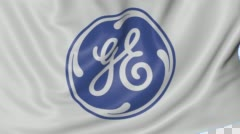 Close up of waving flag with General Electric logo, seamless loop, blue Stock Footage