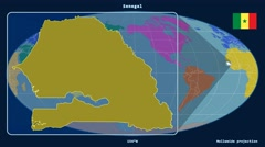 Senegal - 3D tube zoom (Mollweide projection). Continents - stock footage