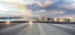 Empty street with cityscape and skyline of hangzhou riverside new city Stock Photos
