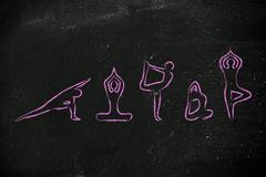 yoga inspired illustration, mind body and soul - stock illustration