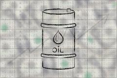 Oil barrel on stock exchange background Stock Illustration