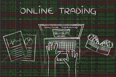 Computer user on green and red stock market data, with text Online Trading Stock Illustration