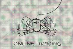Online trading: computer mouse and cash on top of stock exchange indexes Stock Illustration