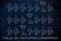 Focus on motivated candidates: a few standing out from the crowd with a Pick  Stock Illustration