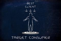 Person standing on target with Best client sign and text Target Consumer Stock Illustration