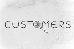 "The marketing term ""customers"" with real targets and arrows Stock Illustration"