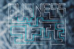 Business writing turning into a maze with (solution found) Stock Illustration