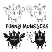 Contour and Silhouette Monsters Set Stock Illustration