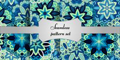 Mandala seamless patterns set. Islam, Arabic, Indian, ottoman motifs. - stock illustration