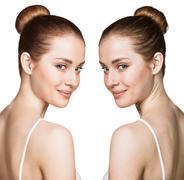 Comparison portrait of problematic skin Stock Photos