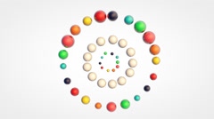 Orbiting movement of small glossy colorful 3d balls Stock Footage