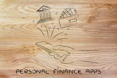 personal finance apps: hand holding smartphone and using banking services or  - stock illustration