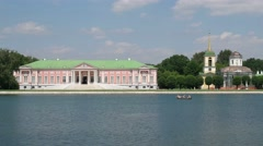 Kuskovo. View on a palace from the side of lake. Timelapse. 4K Stock Footage