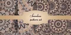 Mandala seamless patterns set. Islam, Arabic, Indian, ottoman motifs. Stock Illustration