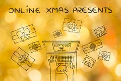 Online Xmas presents: hands typing on computer to place an order, surrounded  Stock Illustration