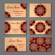 Visiting card and business card set with mandala. Abstract oriental design la Stock Illustration