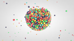Falling of small glossy colorful 3d balls into the sphere - stock footage