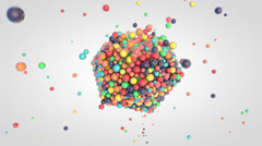Falling of small glossy colorful 3d balls into the platonic - stock footage