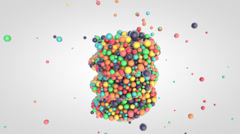 Falling of small glossy colorful 3d balls into the twisted cylinder - stock footage