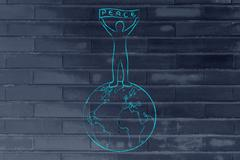 Person holding a peace banner on top of the globe Stock Illustration