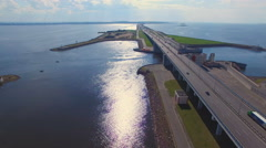 Aerial view of dam in Kronshtadt Stock Footage