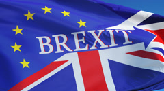 Great Britain Brexit flag in slow motion looped with alpha - stock footage