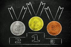 Gold, silver and bronze medals on podium Stock Illustration