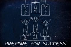 champions on podium and banners: prepare for success - stock illustration