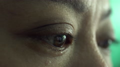 4k, Close up woman eye open up and looking Stock Footage