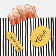 Hand orange nail polish on a striped background Stock Illustration
