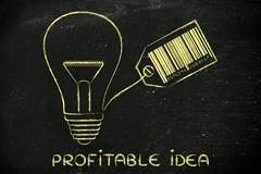 lightbulb with bar code as filament with text Profitable idea - stock illustration