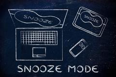 Laptop, phone and tablet with funny eye mask, set to snooze mode Stock Illustration