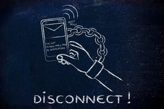 Hand chained to a mobile with text Disconnect!! Stock Illustration