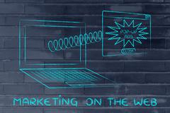Webmarketing: pop-up ads coming out of laptop screen with a spring Stock Illustration