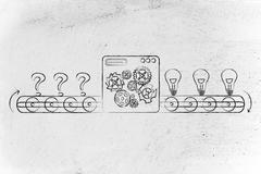 from doubts (question marks) to ideas, factory illustration - stock illustration