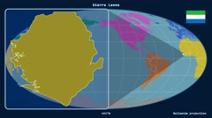 Sierra Leone - 3D tube zoom (Mollweide projection). Continents - stock footage