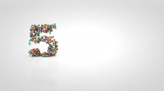 CountUp from 1 to 5 with moving a swarm of glossy colorful 3d balls - stock footage