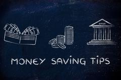 Wallet, coins and bank: concept of giving advice on how to save money Stock Illustration