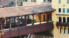 Bassano del Grappa - View of the Ponte Vecchio from above Stock Footage