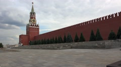 Spasskaya Tower. The view on the Kremlin, Red Square. Moscow. 4K. Stock Footage