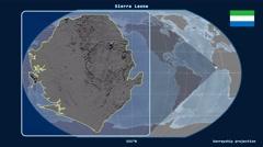 Sierra Leone - 3D tube zoom (Kavrayskiy VII projection) Stock Footage