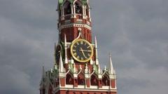 Kremlin chimes. The Spasskaya Tower. Moscow. 4K. - stock footage