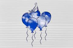 Win over stress and anxiety, metaphor of person flying on balloons with sky f Stock Illustration