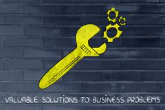 Concept of valuable business solutions, golden wrench fixing a set gearwheels Stock Illustration
