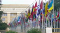United Nations Office at Geneva in Switzerland, alley of member countries flags HD Footage