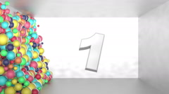 CountUp from 1 to 5 with motion of swarm of glossy colorful 3d balls - stock footage