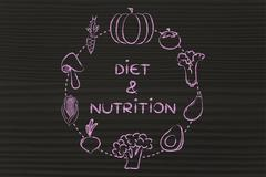 diet & nutrition: vegetables illustration - stock illustration