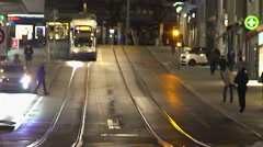 Active life in megalopolis, modern public transport, busy pedestrians in street - stock footage