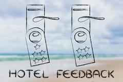 hotel feedback, door hangers with ranking - stock illustration