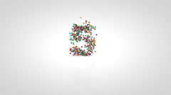 Number 5 with moving a swarm of glossy colorful 3d balls - stock footage